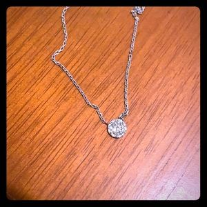 Silver diamond chip necklace